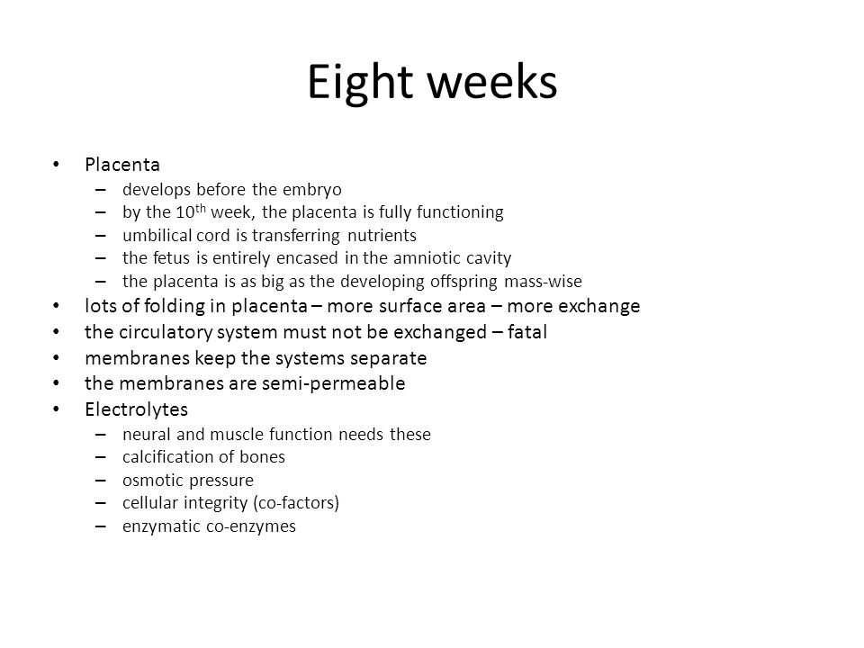 Eight weeks Placenta. develops before the embryo. by the 10th week, the placenta is fully functioning.
