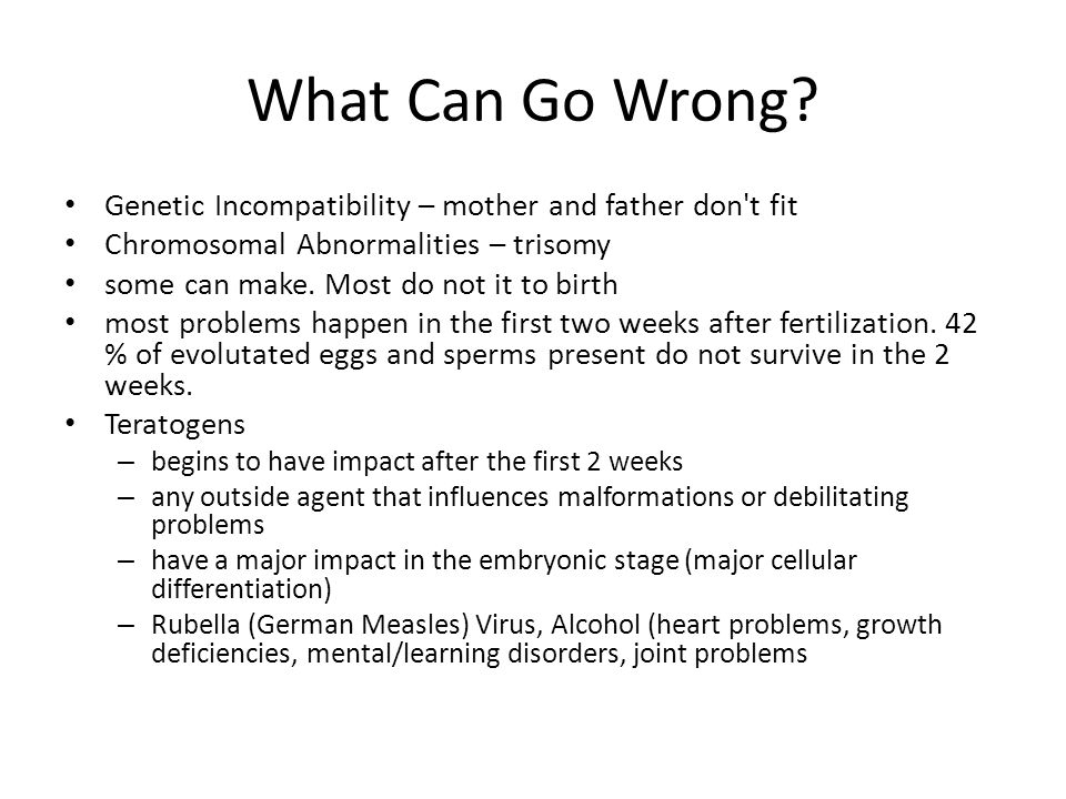 What Can Go Wrong Genetic Incompatibility – mother and father don t fit. Chromosomal Abnormalities – trisomy.