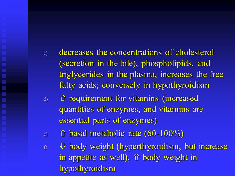 decreases the concentrations of cholesterol (secretion in the bile), phospholipids, and triglycerides in the plasma, increases the free fatty acids; conversely in hypothyroidism