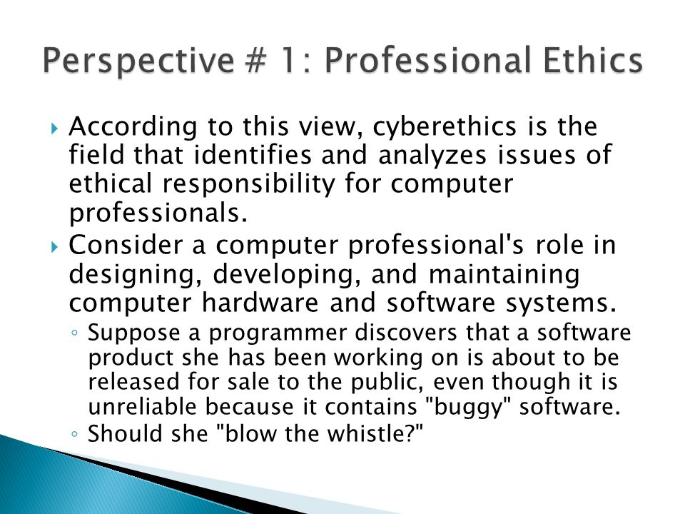 Perspective # 1: Professional Ethics