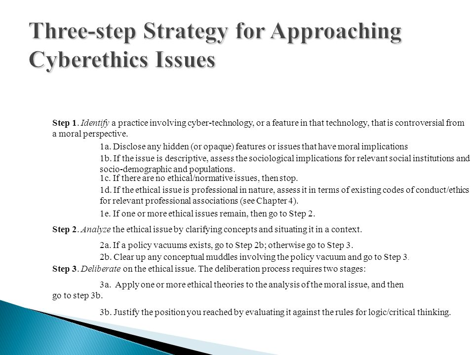 Three-step Strategy for Approaching Cyberethics Issues