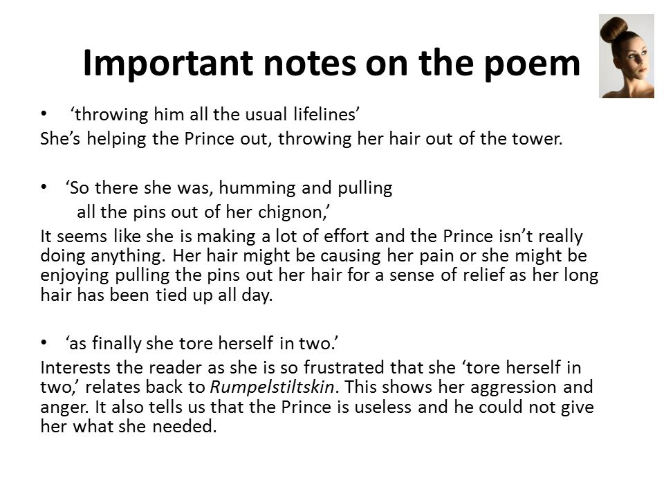 Important notes on the poem