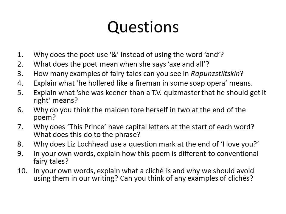 Questions Why does the poet use '&' instead of using the word 'and'