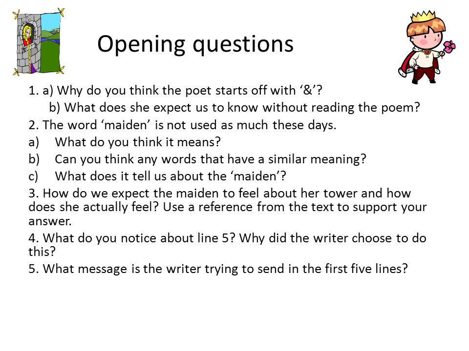Opening questions 1. a) Why do you think the poet starts off with '&'