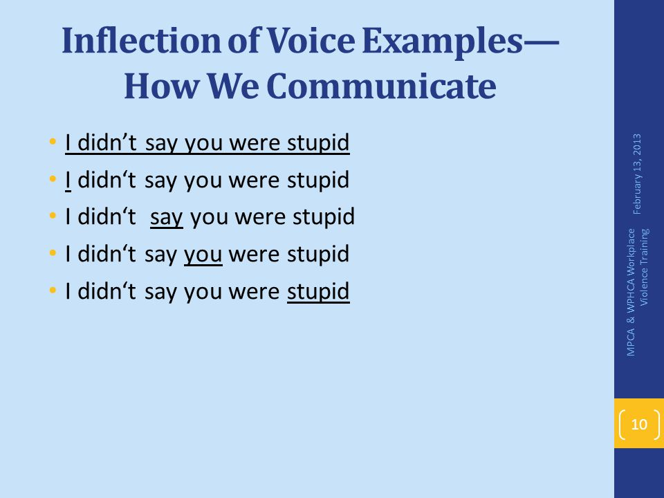 Inflection of Voice Examples—How We Communicate