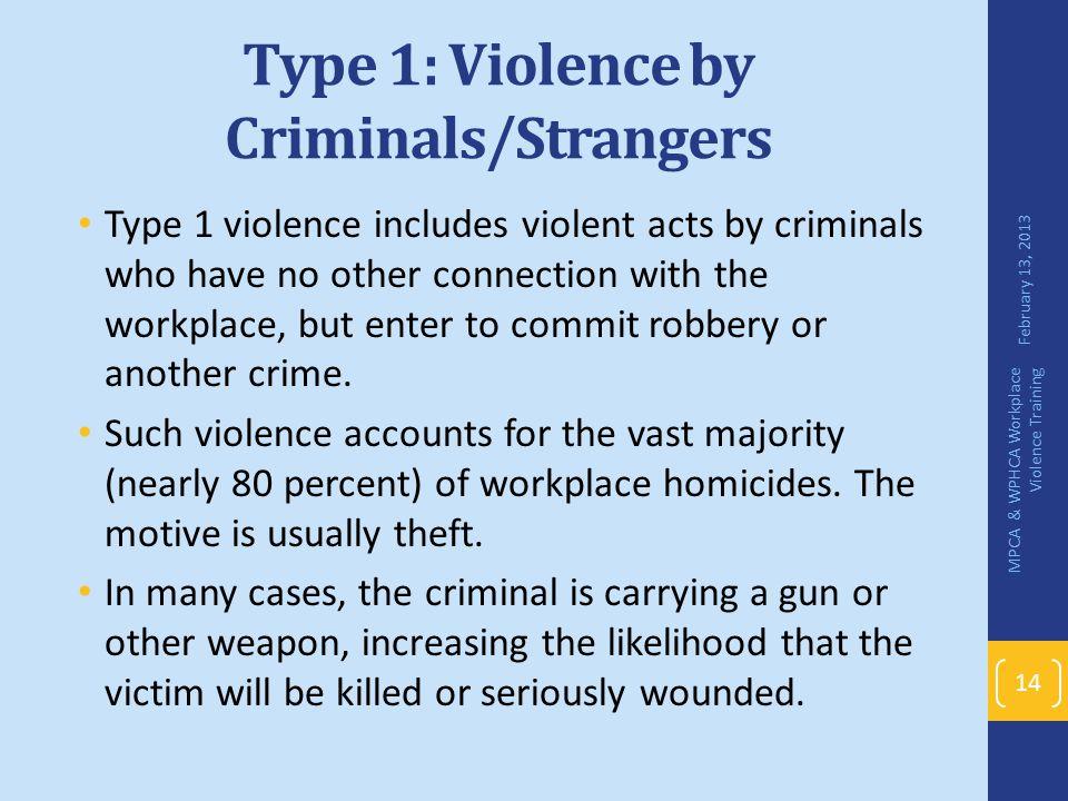 Type 1: Violence by Criminals/Strangers