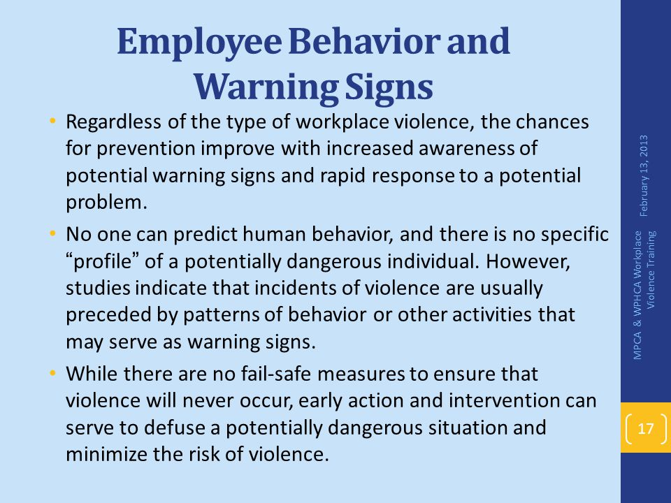 Employee Behavior and Warning Signs