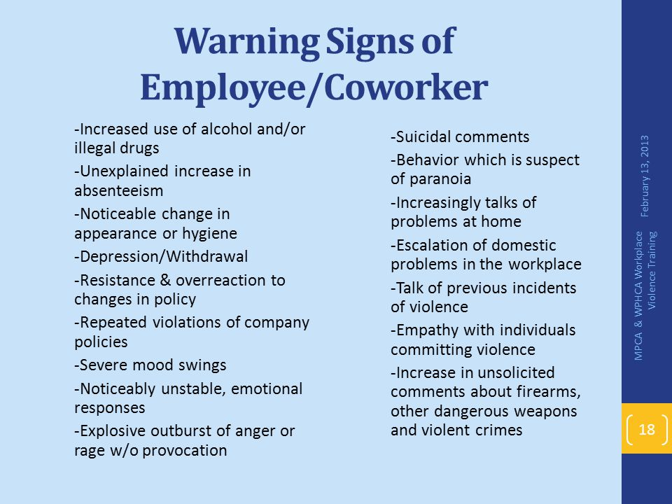Warning Signs of Employee/Coworker