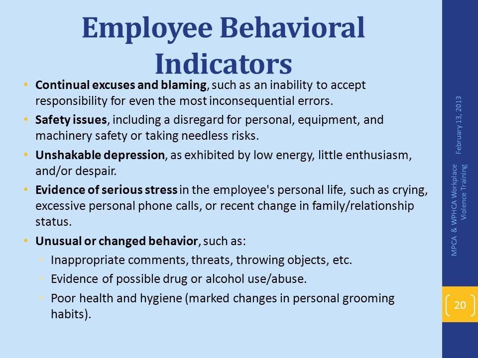 Employee Behavioral Indicators