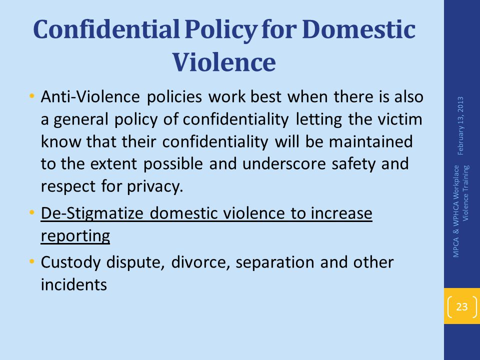 Confidential Policy for Domestic Violence