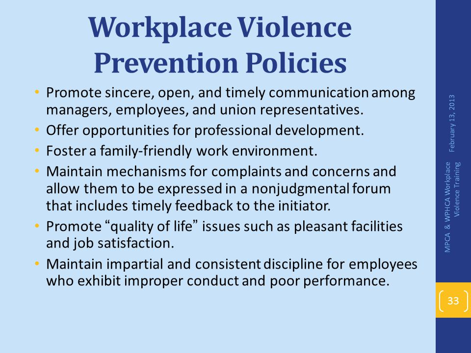 Workplace Violence Prevention Policies