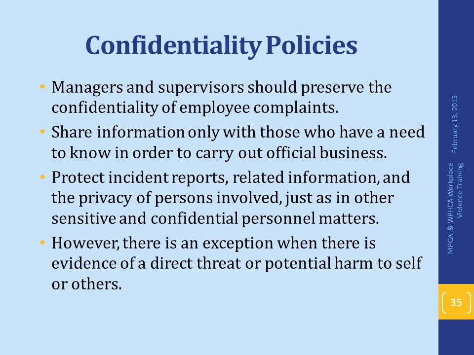 Confidentiality Policies