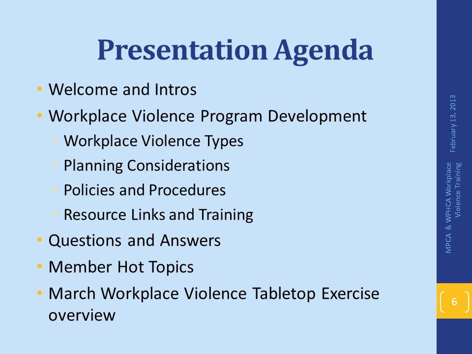 Presentation Agenda Welcome and Intros