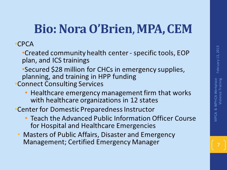 Bio: Nora O'Brien, MPA, CEM