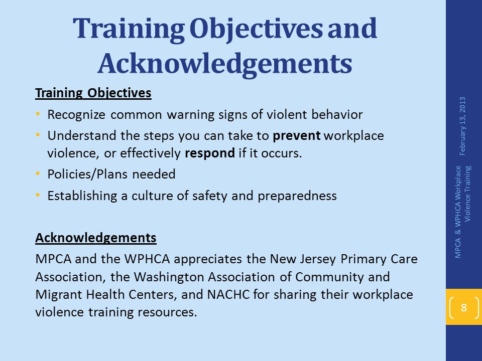 Training Objectives and Acknowledgements