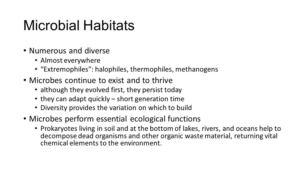 Microbial Habitats Numerous and diverse