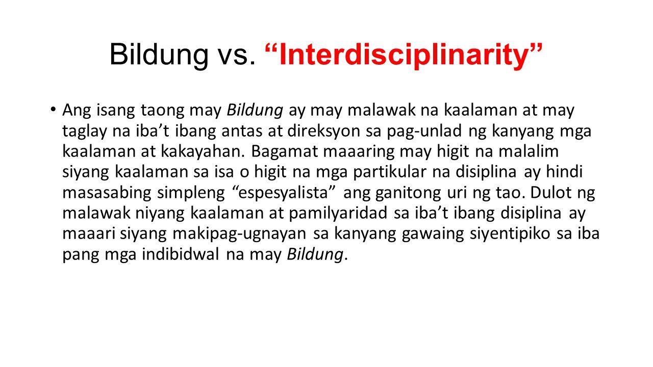 Bildung vs. Interdisciplinarity