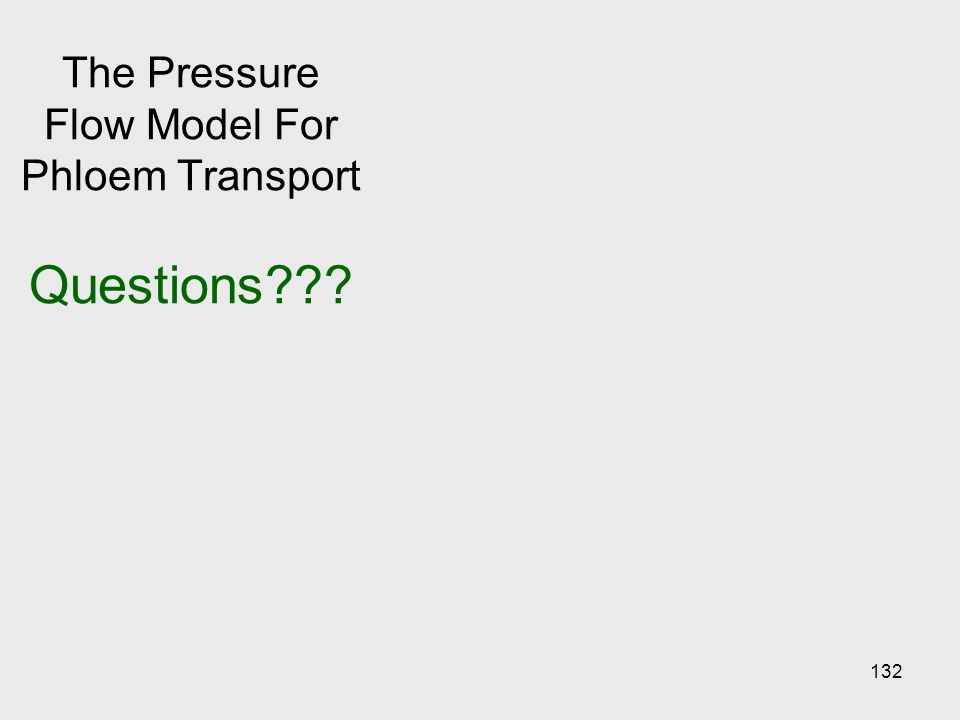 The Pressure Flow Model For Phloem Transport Questions