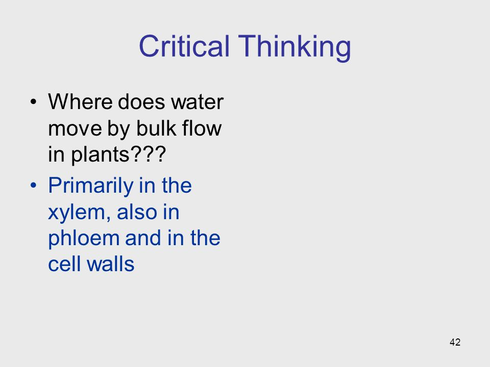 Critical Thinking Where does water move by bulk flow in plants