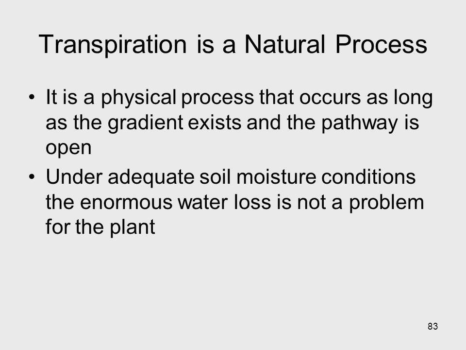 Transpiration is a Natural Process