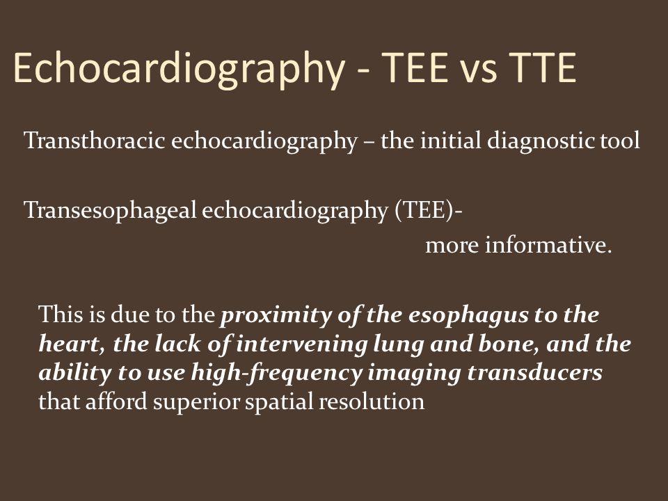 Echocardiography - TEE vs TTE