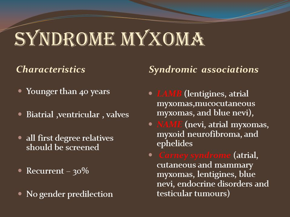 Syndrome Myxoma Characteristics Syndromic associations