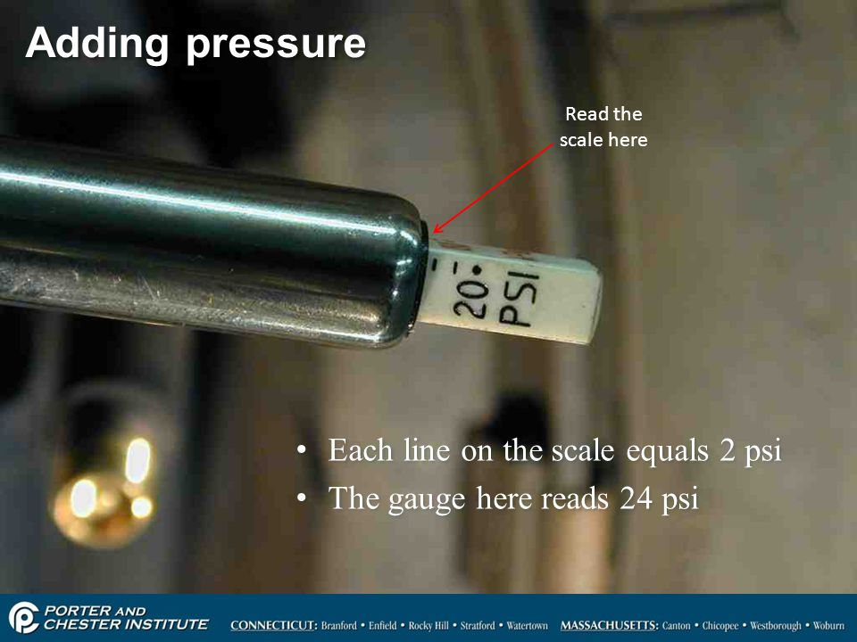 Adding pressure Each line on the scale equals 2 psi