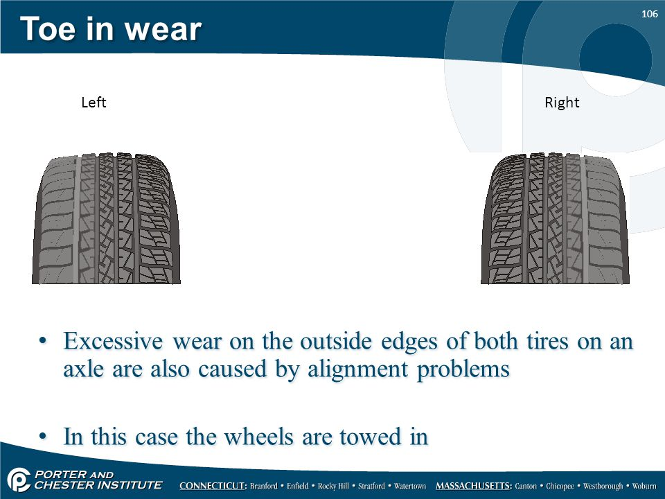 Toe in wear Left. Right. Excessive wear on the outside edges of both tires on an axle are also caused by alignment problems.