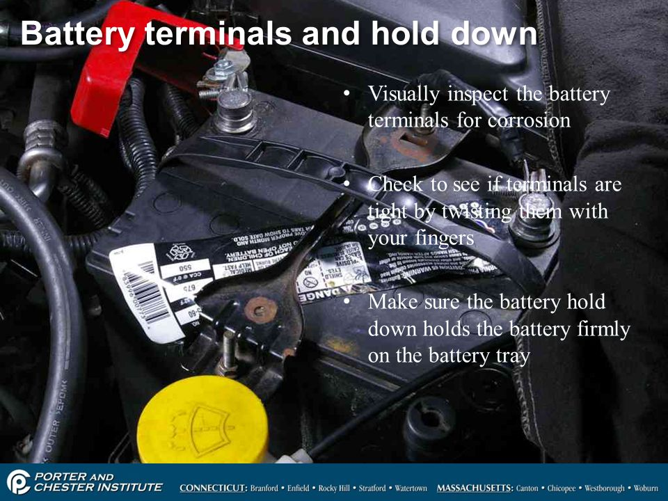 Battery terminals and hold down