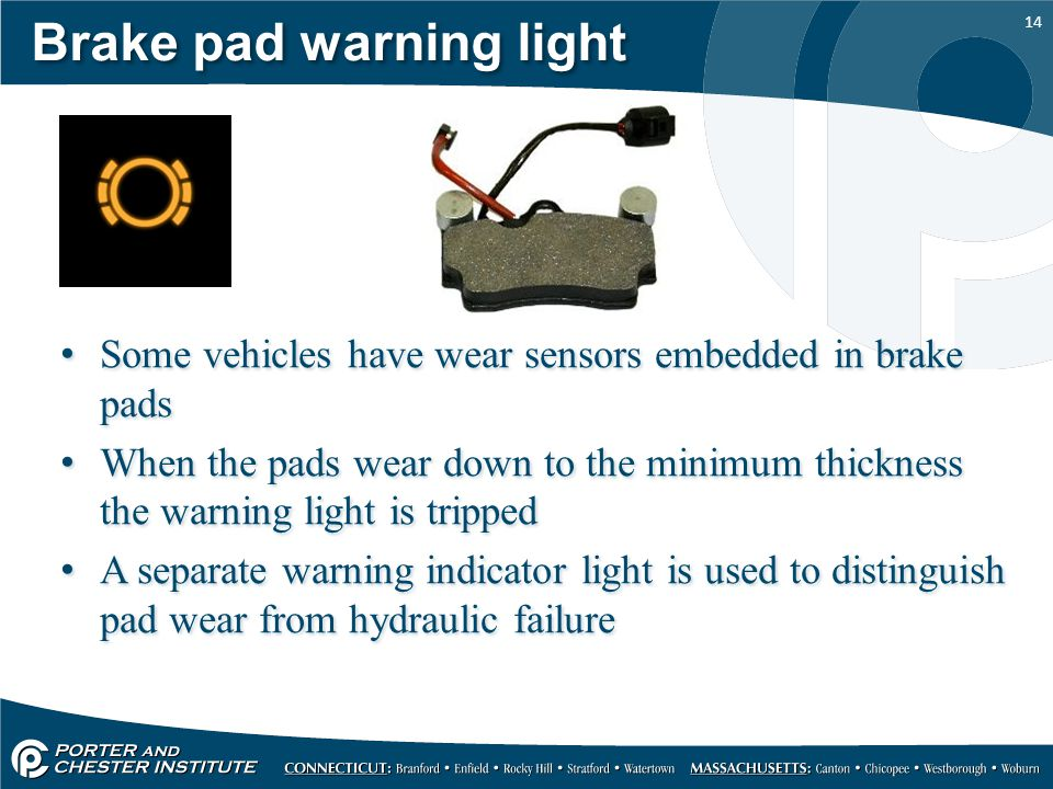 Brake pad warning light