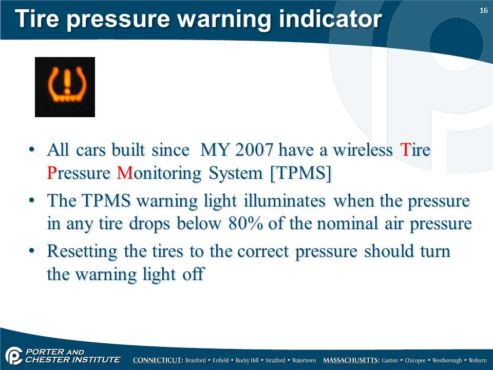 Tire pressure warning indicator