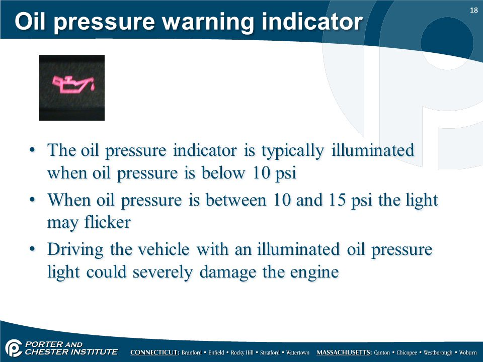 Oil pressure warning indicator