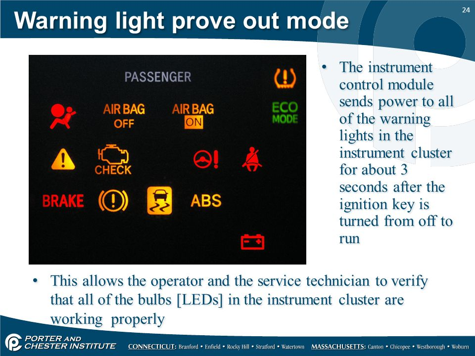 Warning light prove out mode