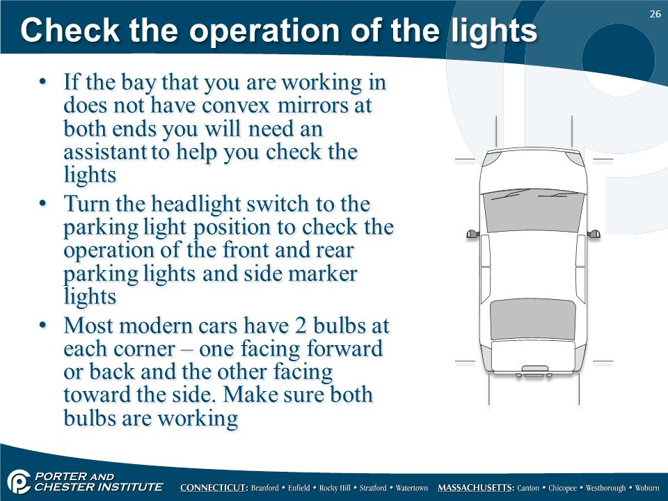 Check the operation of the lights