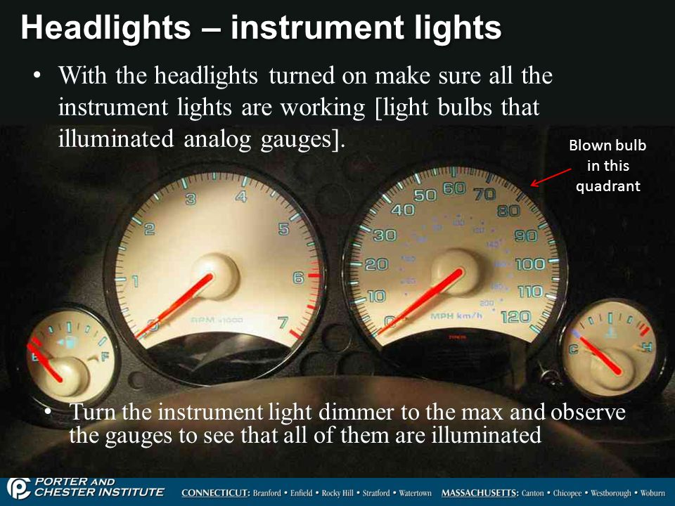Headlights – instrument lights