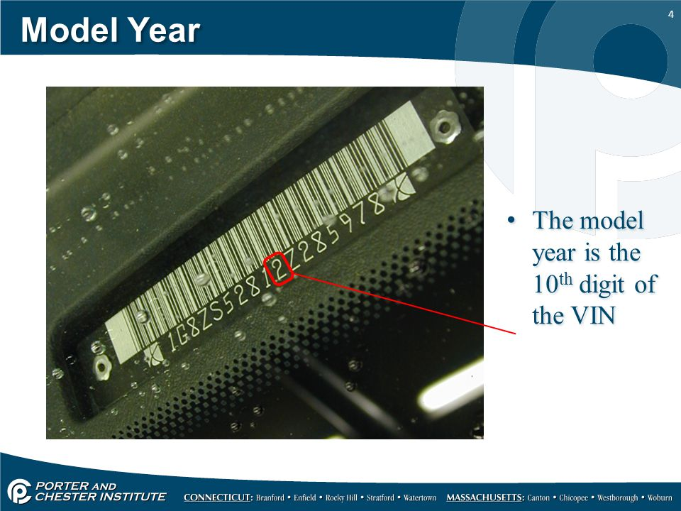 Model Year The model year is the 10th digit of the VIN