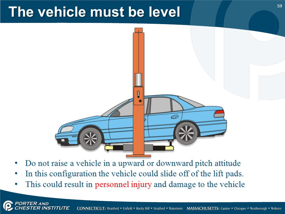 The vehicle must be level