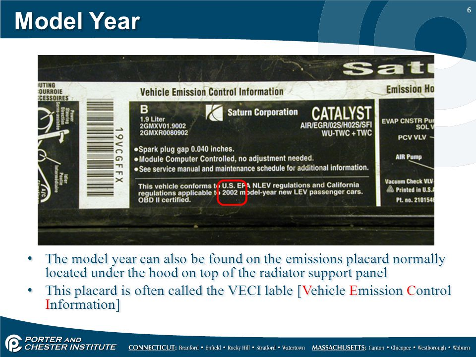 Model Year The model year can also be found on the emissions placard normally located under the hood on top of the radiator support panel.