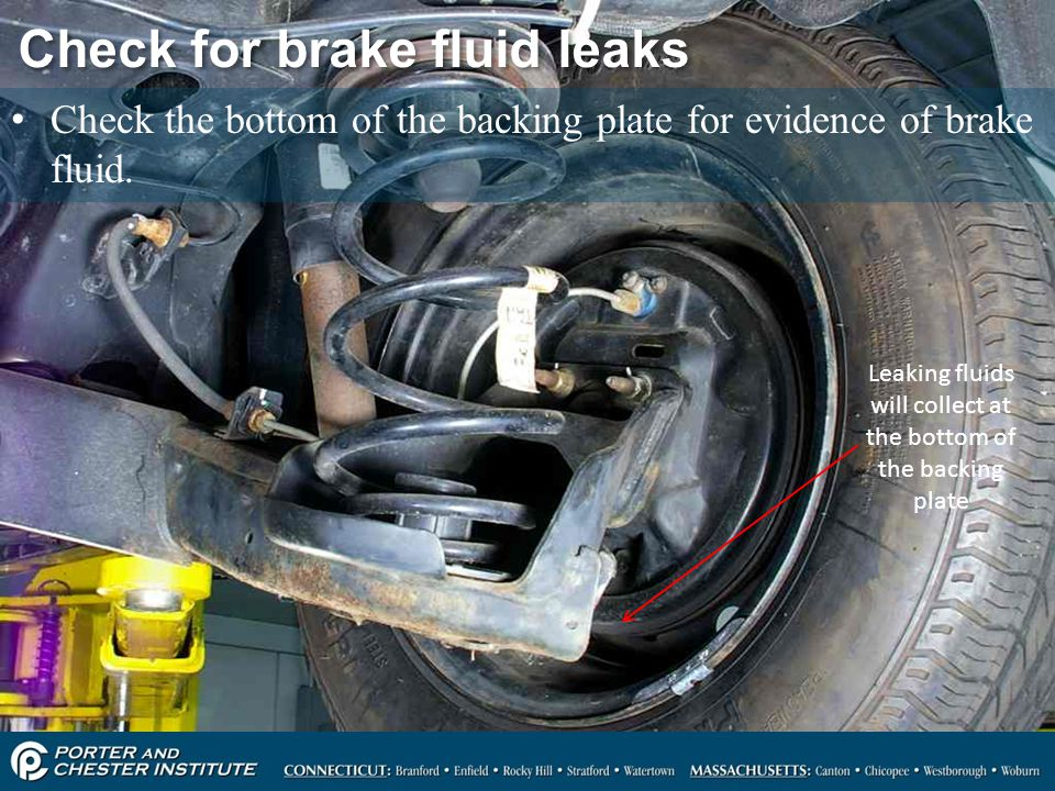 Check for brake fluid leaks