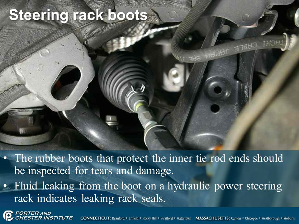 Steering rack boots The rubber boots that protect the inner tie rod ends should be inspected for tears and damage.