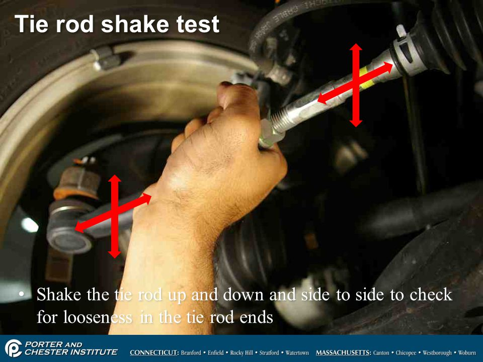Tie rod shake test Shake the tie rod up and down and side to side to check for looseness in the tie rod ends.