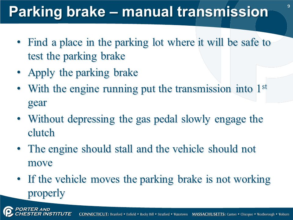 Parking brake – manual transmission