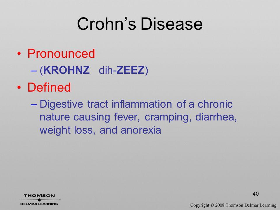 Crohn's Disease Pronounced Defined (KROHNZ dih-ZEEZ)