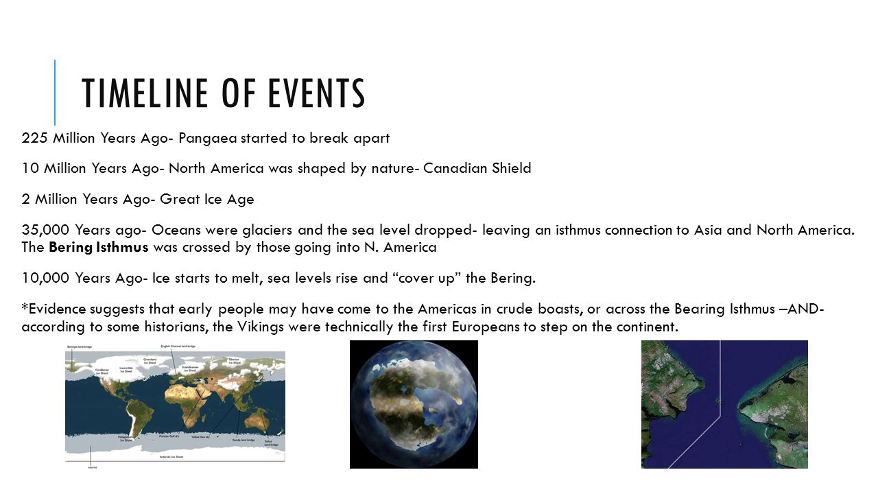 Timeline of events 225 Million Years Ago- Pangaea started to break apart. 10 Million Years Ago- North America was shaped by nature- Canadian Shield.