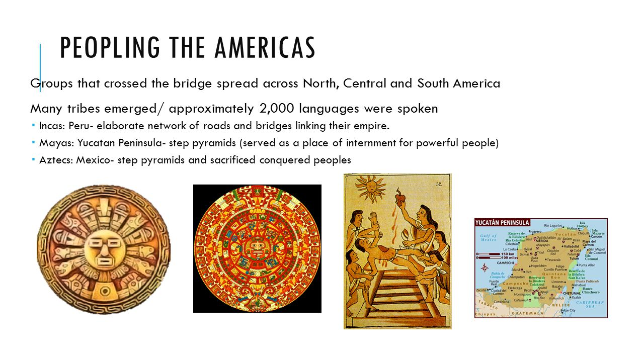 Peopling the Americas Groups that crossed the bridge spread across North, Central and South America.