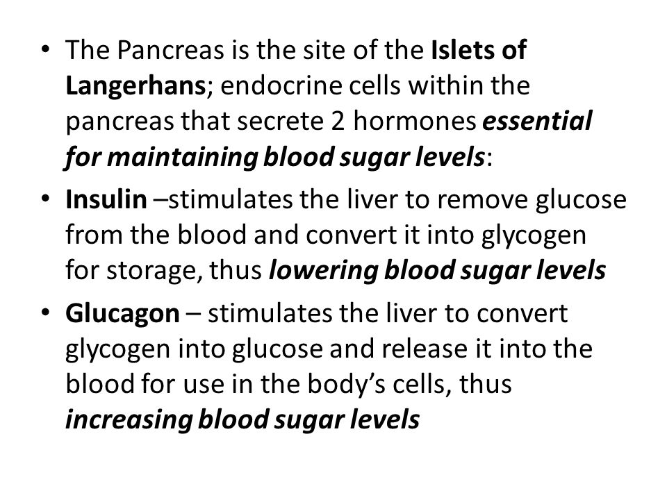 The Pancreas is the site of the Islets of Langerhans; endocrine cells within the pancreas that secrete 2 hormones essential for maintaining blood sugar levels: