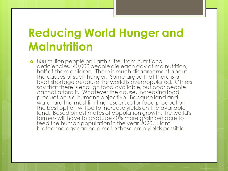 Reducing World Hunger and Malnutrition