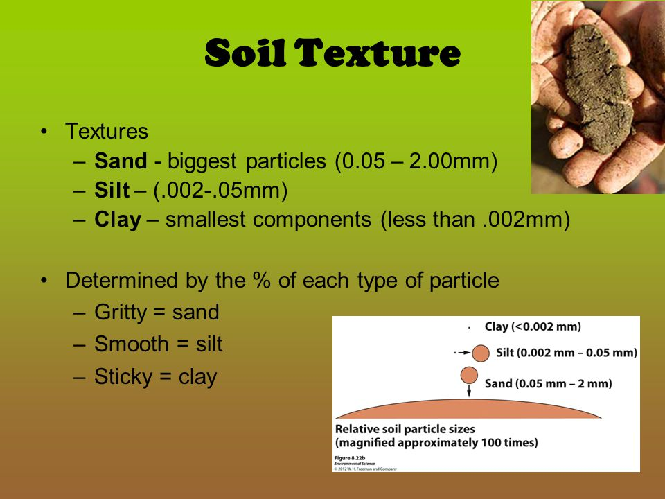 Soil Texture Textures Sand - biggest particles (0.05 – 2.00mm)