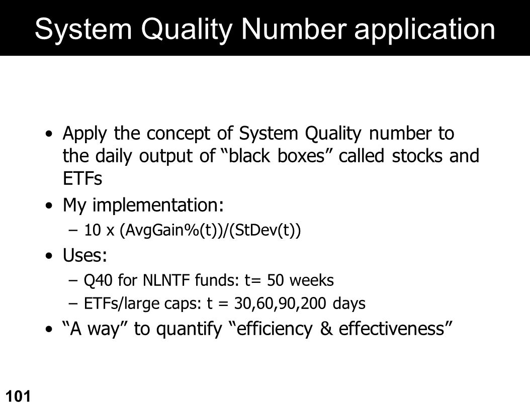 System Quality Number application