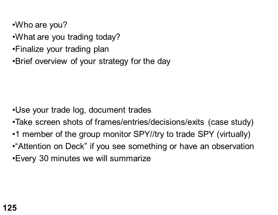 Who are you What are you trading today Finalize your trading plan. Brief overview of your strategy for the day.